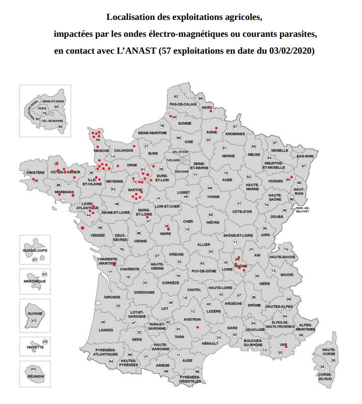 Carte des éleveurs impactés